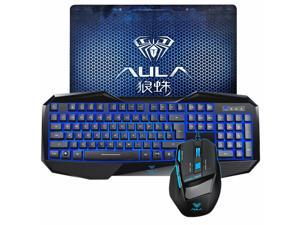 AULA Gaming Keyboard and Mouse w/ Mouse Pad Combo LED Blue Backlit USB for Computer