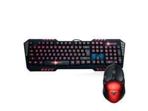 AULA JCJX USB Wired LED Red Backlit Programmable Multimedia Gaming Keyboard And Mouse