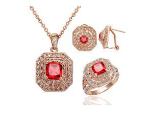 Ship From USA Yours Vintage Ruby Necklace and Earring and Ring Sets 18K Rose Gold Plated Used  Swarovski Crystal