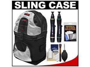 Precision Design PD-BP2 Deluxe Sling Digital SLR Camera Backpack Case (Black/Silver) with Lenspens + Screen Protectors + ...