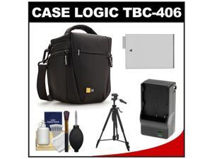 Case Logic TBC-406 Digital SLR Camera Holster Case (Black) with LP-E8 Battery & Charger + Tripod + Kit for Rebel T3i, T4i, ...
