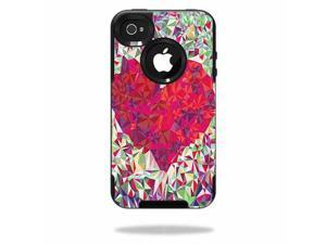 MightySkins Protective Vinyl Skin Decal Cover for OtterBox Commuter iPhone 4 Case Sticker Skins Stained Heart