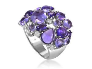 Shanghai Womens 18K White Gold Diamond and Amethyst Cocktail Ring