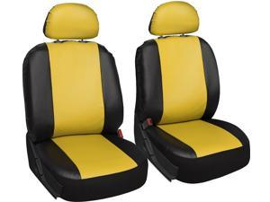 Oxgord Two Tone 6 Piece Faux Leather Front Seat Covers