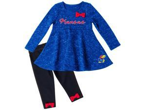 Kansas Jayhawks KU Long Sleeve Dress and Leggings Infant Set