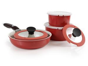 Neoflam Midas Plus Cast Aluminum Cookware 9-Piece Set with Detachable Handle - Sunrise Red