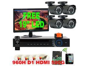 GW 4 Channel 960H DVR 500GB HDD 4x 650 TVL Day & Night Water Proof Security Camera System Surveillance Package CCTV Kit iPhone/Android ...
