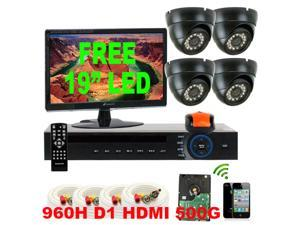 GW 4 Channel 960H DVR 500GB HDD  iPhone Android Compatible + 4 Weatherproof 700 TV Lines Security Camera System Surveillance ...