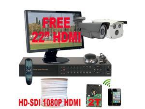 GW HD-SDI 1080P 4 Channel DVR CCTV Kit (2TB HDD) with 2 High Definition 2.1 Megapixel Security Camera HD System Surveillance ...