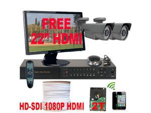 GW HD-SDI 1080P 4 Channel HD DVR CCTV Kit (2TB HDD) with 2 High Definition 2.1 Megapixel 2.8~12mm Varifocal Lens Security ...