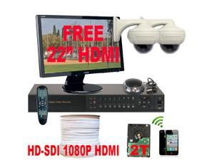 GW HD-SDI 1080P 4 Channel HD DVR CCTV Kit (2TB HDD) + 2 HD 2.1 Megapixel 2.8~12mm Varifocal Lens Indoor Security Camera System ...