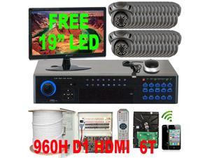 GW 32CH Realtime 960H DVR CCTV Surveillance System (6TB HDD) with 32 x EFFIO CCD Indoor/Outdoor Security Camera 700 TV Lines, ...