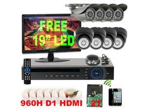 GW 8 Channel Real Time 960H DVR Kit (2TB HDD) with 8 Camera Security System Water Proof Cameras 650 TVL 3.6mm Lens CCTV Surveillance ...