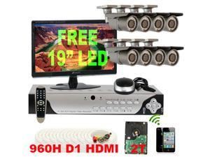 GW High Resolution 8 Channel 960H D1 DVR (2TB HDD) + 8 EFFIO CCD 700 TV Lines 2.8~12mm Varifocal Lens Camera Security System ...