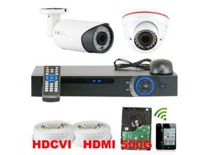 GW 4 Channel HDCVI DVR Security Camera System with 2 x HDCVI Color IR CCTV Camera, 2.8-12mm Manual Focus Lens, 1.0 Mega pixel ...