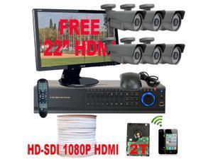 GW 1080P HD-SDI 8 Channel Real Time DVR (2TB HDD) 2.1 Megapixel 2.8~12mm Varifocal Lens High Definition CCTV Surveillance ...