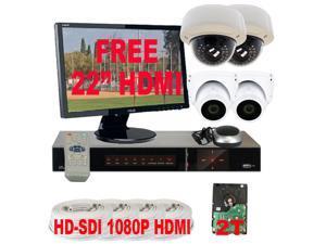 GW HD-SDI 4 Channel DVR (2TB HDD) 1080P Realtime Recording + 1080P Realtime Playback, 2 Megapixel HD CCTV Surveillance Kit ...