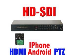 GW HD-SDI High Definition 8 Channel DVR (4TB HDD) 1080P & 720P HDMI Video Output, Support Android phone iPhone iPad, H.264 ...