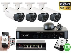 GW 4 Channel 1080P NVR Kit PoE HD IP Security Camera System (4)x 2MP Megapixel 2.8~12mm Varifocal Lens 80 Feet Night Vision Water Proof Motion Detective QR-Code Scan Remote Smartphone View (2TB HDD)