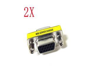 2 x New VGA SVGA 15-Pin Male To Female M/F Coupler Gender Changer Adapter Connecter