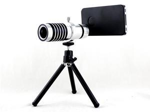 Apexel Detachable 14X Zoom Telephoto Lens with Mini Tripod and Case for iPhone 5 5G 5S Silver