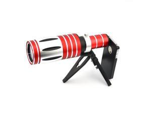 Apexel Detachable Optical 50x Zoom Aluminum Telephoto Telescope Camera Lens with Case and Tripod for iPhone 5 5G 5S Red