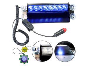 HQRP Blue 4x4 8-LED Car Emergency Vehicle Warning Strobe Flash Light 12V plus HQRP UV Meter