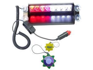 HQRP White / Red 8-LED Vehicle Dash Warning Strobe Fog Flash Light for Car / Truck / Boat / RV / Caravan 4x4 Type plus HQRP ...