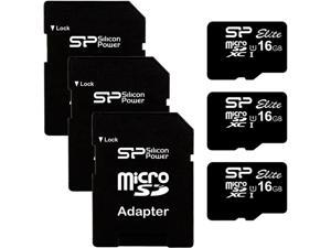 Silicon Power 3PK-SP016GBSTHBU1V10 Elite 16GB (3 Pack) microSD Class 10 UHS-1 Flash Memory Card