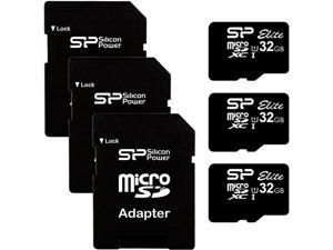 Silicon Power 3PK-SP032GBSTHBU1V10 Elite 32GB (3 Pack) microSD UHS-1 Flash Memory Card