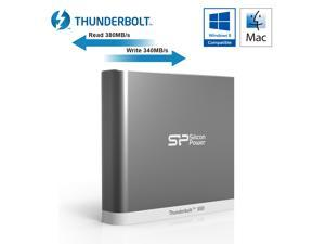 Silicon Power 120GB Thunderbolt T11 Portable External SSD Solid State Drive with Cable Silver