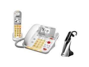 Uniden D3098 w/ Wireless Headset Loud & Clear Expandable Corded-Cordless Phone System with Caller ID Announcer
