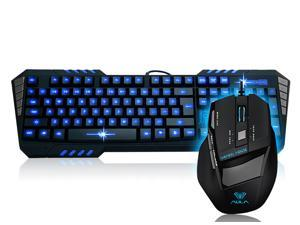 Brand New Aula So Evil LED Backlit Illuminated USB Wired Ergonomic Gaming & Multimedia Keyboard