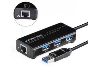 UGREEN 20266 3 Ports USB 3.0 Hub with 10/100Mbps Ethernet Network for Windows Surface Pro, IdeaPaD, MacBook Air, MacBook ...