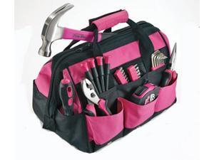 The Original Pink Box PB30TBK 30 Piece Tool Kit Set with Bag Hammer Wrench Plier Driver Bit Hex Key Tape Measure Screwdriver