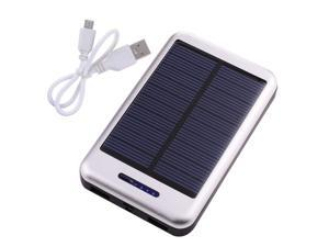 Solar Power Panel 10000mAh Silver Portable Power Bank Pack Indicator light External Battery Charger With Dual Micro USB Output ...