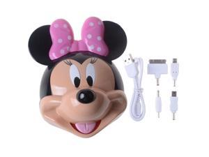 3D Cute Mickey Mouse Cartoon 12000mAh Black Dual Micro USB Output Portable Power Bank Pack External Battery Charger