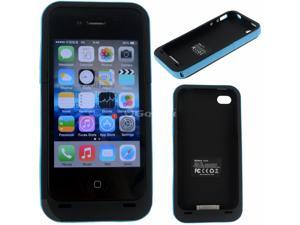 Blue 2000mAh External Battery Backup Pack Power Bank Charger Case for iPhone 4 4S