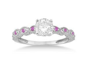 Vintage Marquise Pink Sapphire Engagement Ring 14k White Gold (0.18ct)