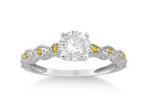 Vintage Marquise Yellow Sapphire Engagement Ring 14k White Gold (0.18ct)