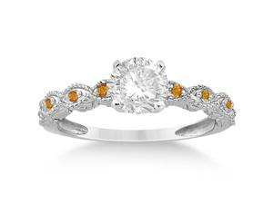 Vintage Marquise Citrine Engagement Ring 14k White Gold (0.18ct)