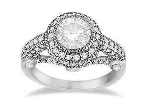 Vintage Diamond Halo Art Deco Engagement Ring Platinum (0.97ct)