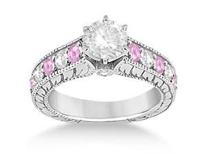 Vintage Diamond and Pink Sapphire Engagement Ring in Palladium (1.41ct)