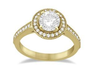 Vintage Diamond Halo Engagement Ring Setting 14K Yellow Gold (0.33ct)