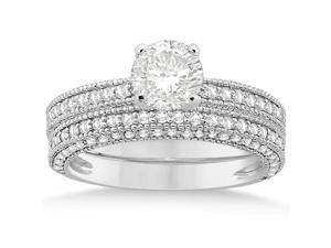 Vintage Heirloom Round-Cut Diamond Bridal Set 14k White Gold (1.32ct)