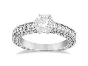 Vintage Style Diamond Filigree Engagement Ring 14k White Gold (0.16ct)