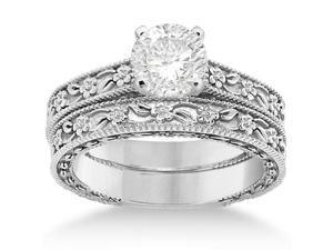 Carved Floral Wedding Set Engagement Ring and Band 14K White Gold