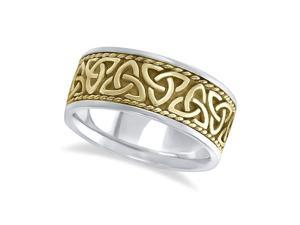 Mens Handmade Celtic Irish Wedding Ring 14k Two-Tone Gold (10mm)