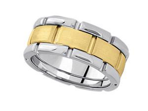 Comfort-Fit Two-Tone Wedding Band in 14k White and Yellow Gold (8.5mm)