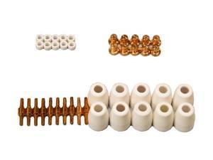 Lotos LCON40 40 pcs lotos plasma cutter consumables nozzle electrode cup and ring for 50A Lotos Plasma Cutters Cut50D, LT5000D, ...